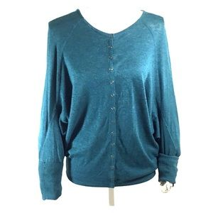 Free People Teal Snap Button Cardigan Size Large